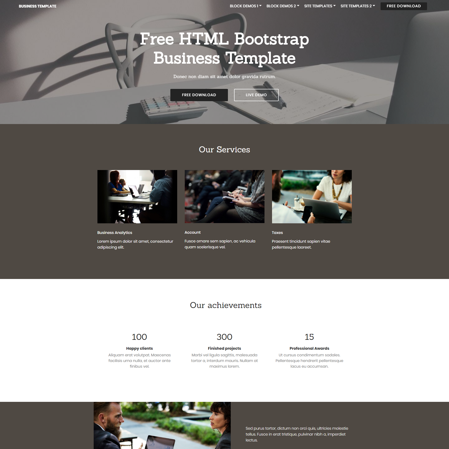 HTML Bootstrap Busines Themes