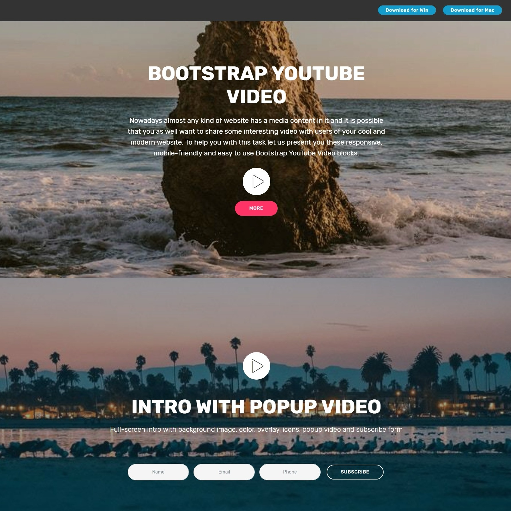 Bootstrap YouTube Video